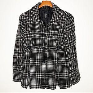 RQT Black & White Wool Blend Plaid Coat Size 8